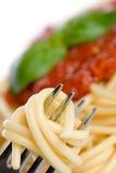 Cena del espagueti Foto de archivo libre de regalías
