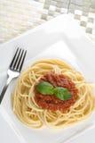 Cena del espagueti Imágenes de archivo libres de regalías