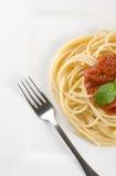 Cena del espagueti Imagen de archivo libre de regalías