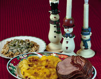 Cena del jamón de la Navidad Fotografía de archivo