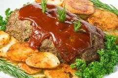 Cena del pan con carne y de la patata Imagen de archivo