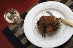 Cena del pollo de carne asada; pescado con caña de arriba Foto de archivo