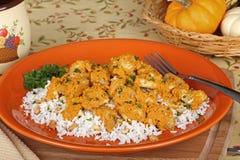 Cena del pollo de la calabaza Foto de archivo