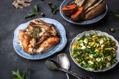 Cena del pollo de Rosemary Fotos de archivo libres de regalías