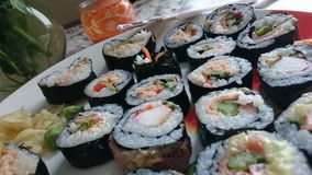 Cena del salmone dei sushi Fotografia Stock Libera da Diritti