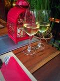 Cena del vino bianco Fotografia Stock Libera da Diritti