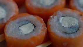 Cena dell'alimento dei sushi video d archivio