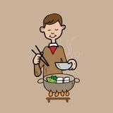 Cena dell'uomo nello stile di Shabu del giapponese illustrazione di stock