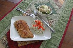 Cena della cotoletta del pollo Immagine Stock