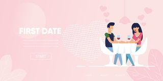 Cena della data di chiacchierata del flirt della donna dell'uomo al ristorante illustrazione vettoriale