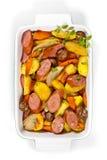 Cena della salsiccia e della patata Fotografia Stock