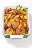 Cena della salsiccia e della patata Fotografie Stock Libere da Diritti