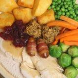 Cena della Turchia dell'arrosto di Natale Fotografia Stock