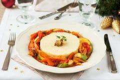 Cena della verdura di Natale Stufato della verdura e del cuscus Immagini Stock