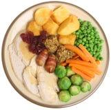 Cena di Natale della Turchia dell'arrosto Fotografie Stock