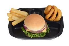 Cena di TV isolata dell'hamburger di vista superiore Immagine Stock Libera da Diritti
