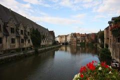 Cena do canal em Ghent fotos de stock royalty free
