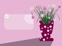 Cena do cartão com vaso e flores Imagens de Stock