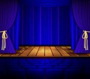 Cena do cinema ou do teatro com uma cortina Imagem de Stock Royalty Free