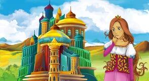 Cena do conto de fadas dos desenhos animados com menina bonita - estando na frente de um castelo Imagens de Stock Royalty Free