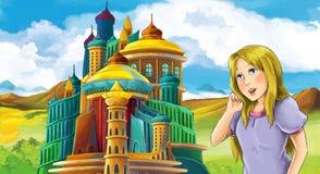Cena do conto de fadas dos desenhos animados com menina bonita - estando na frente de um castelo Foto de Stock Royalty Free