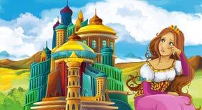 Cena do conto de fadas dos desenhos animados com menina bonita - estando na frente de um castelo Imagem de Stock