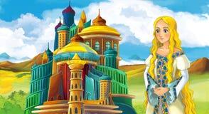 Cena do conto de fadas dos desenhos animados com menina bonita - estando na frente de um castelo Fotos de Stock