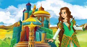 Cena do conto de fadas dos desenhos animados com menina bonita - estando na frente de um castelo Fotografia de Stock Royalty Free