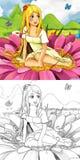 Cena do conto de fadas dos desenhos animados - ilustração de coloração Imagens de Stock Royalty Free