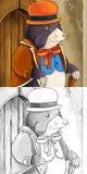 Cena do conto de fadas dos desenhos animados - ilustração de coloração Fotos de Stock Royalty Free