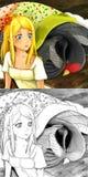 Cena do conto de fadas dos desenhos animados - ilustração de coloração Imagens de Stock