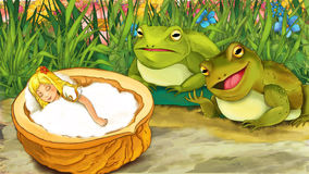 Cena do conto de fadas dos desenhos animados - ilustração para as crianças Foto de Stock