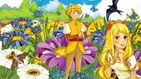Cena do conto de fadas dos desenhos animados - ilustração para as crianças ilustração do vetor