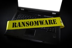 Cena do crime do computador de Ramsomware imagens de stock
