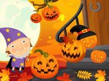 Cena do Dia das Bruxas dos desenhos animados com feiticeiro Imagem de Stock