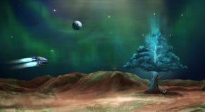 Cena do espaço Nebulosa verde com planeta e árvore da energia elementos ilustração do vetor