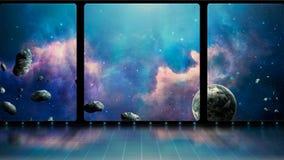 Cena do espaço sala 3D com janelas, a nebulosa azul, o planeta e os asteroides Elementos fornecidos pela NASA rendição 3d ilustração royalty free