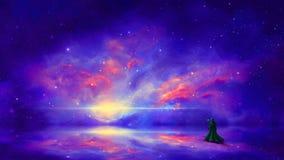 Cena do espa?o Mágico com a nebulosa colorida na superfície da reflexão Elementos fornecidos pela NASA rendi??o 3d fotografia de stock