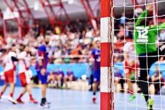 Cena do fósforo da ação do handball Imagem de Stock