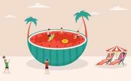 Cena do feriado do verão, melancia enorme que surfam, jogos na água e na praia, voleibol de praia, caráteres ilustração royalty free