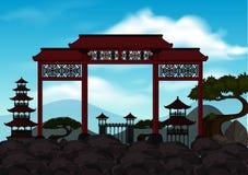 Cena do fundo com a porta chinesa nas rochas ilustração stock