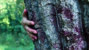 Cena do horror com a mão ensanguentado que esconde atrás da árvore filme