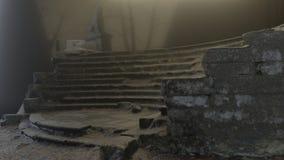 Cena do horror da escada e de esculturas velhas, expectativa, névoa, mistério no lugar abandonado ilustração 3D ilustração do vetor