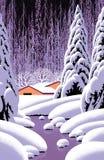 Cena do inverno com celeiro amarelo Imagem de Stock Royalty Free