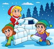 Cena do inverno com miúdos 1 Imagens de Stock Royalty Free