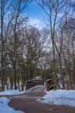 Cena do inverno com a ponte de madeira sobre o ramo ocidental do rio de DuPage em Naperville Fotos de Stock