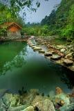 Cena do lago hillside em Hubei fotografia de stock royalty free