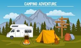 Cena do local de acampamento ilustração royalty free