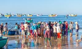 Cena do mercado de peixes nos mares da sessão de manhã Foto de Stock Royalty Free
