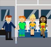 Cena do metro com multidão Fotos de Stock Royalty Free